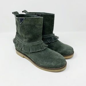 Coolway green suede Afra moccasin booties